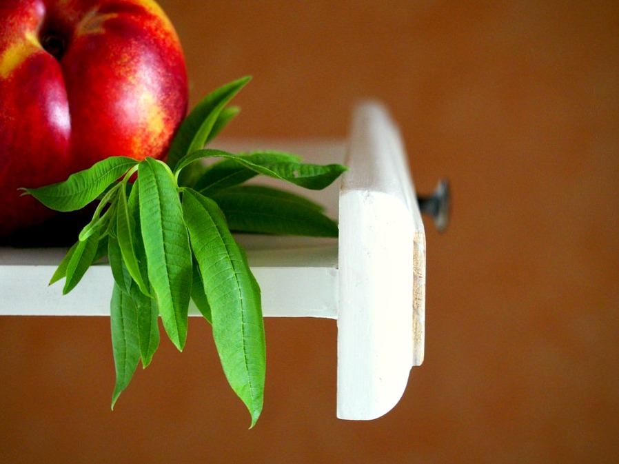 Brins de verveine fraîche pour la recette des nectarines
